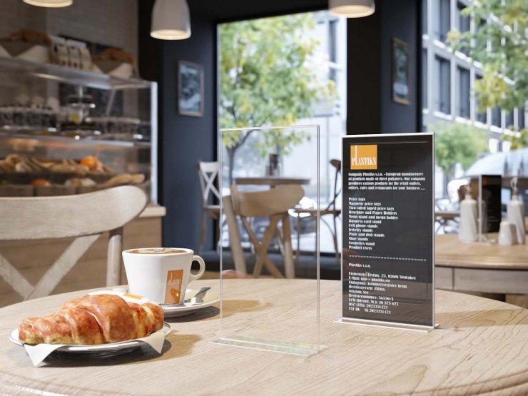 Espositore banco info prezzo in plexiglass porta avisi depliant tavolo foglio A6